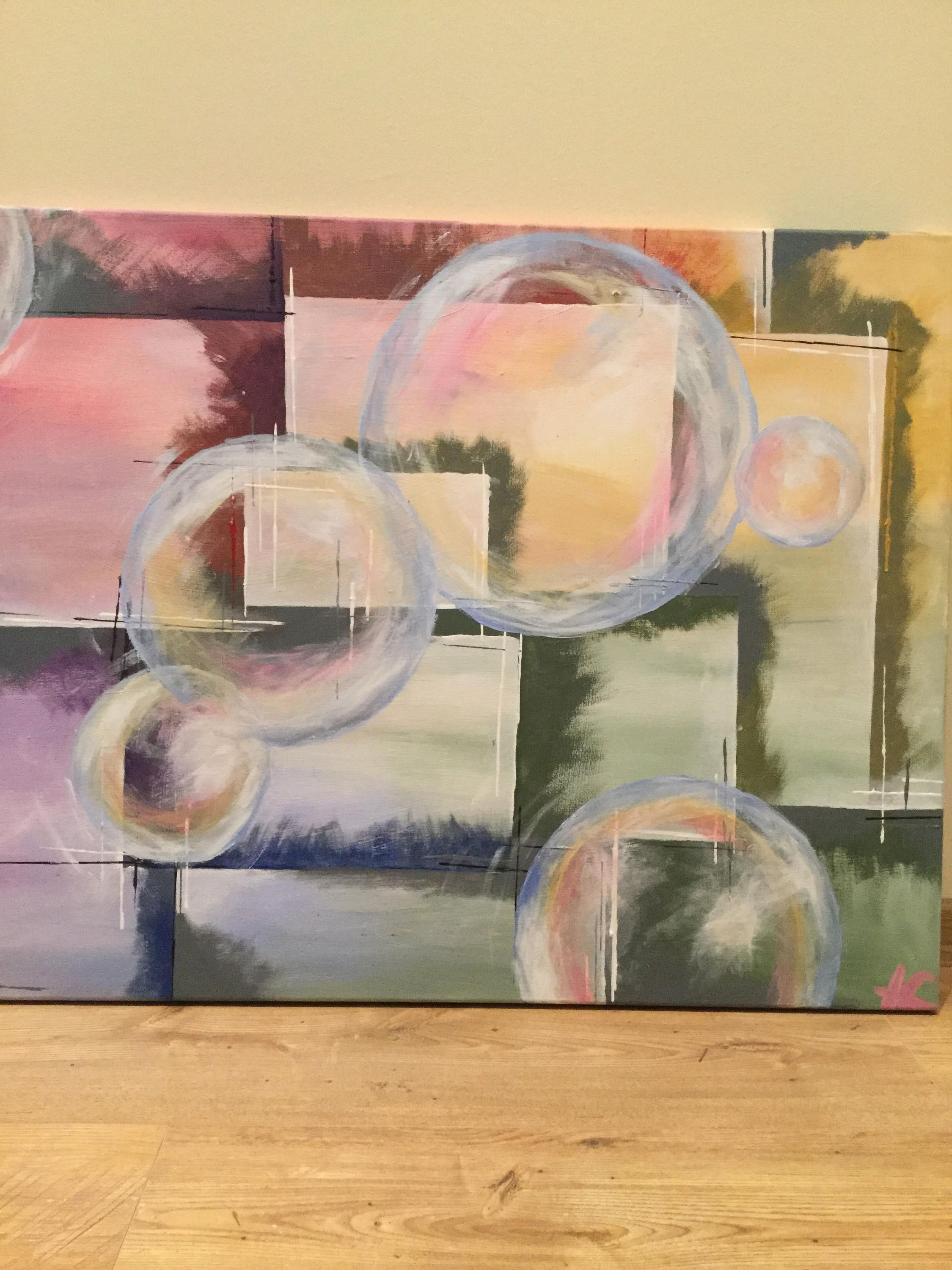 Bubbles - paintings in acrylic on canvas, colorful 60 x 80 cm ...
