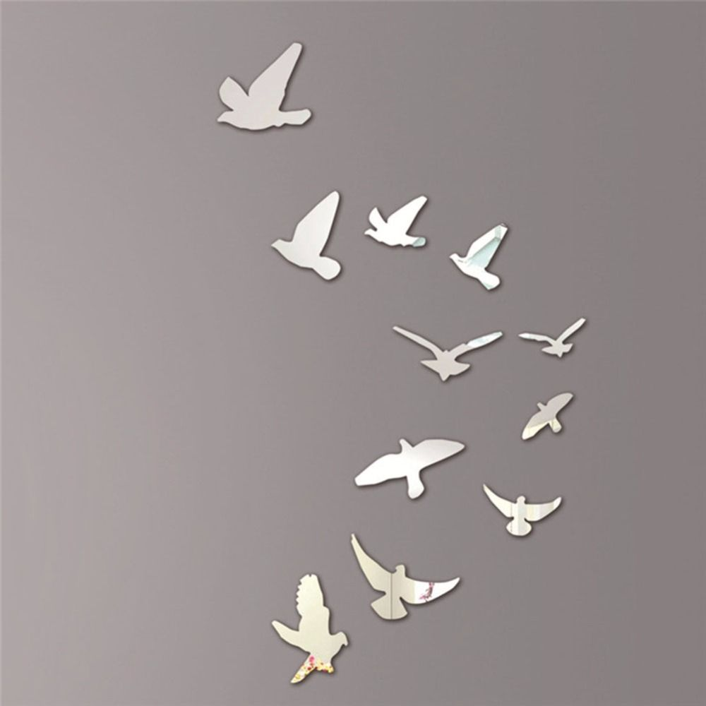 Acrylic Mirror Wall Posters Bird Shape Modern Wall Stickers Home - Diy wall decor birds