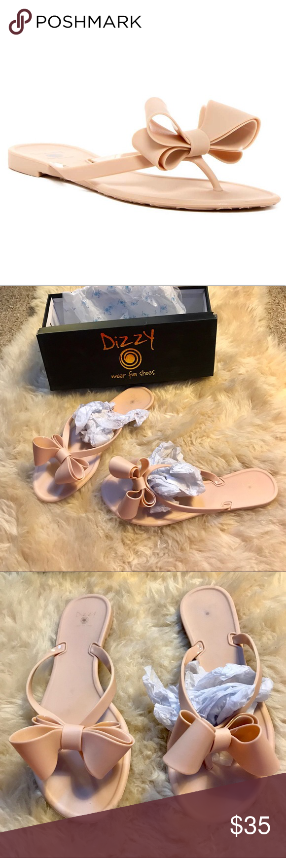 9de9b163399 New PVC Dizzy Bow Flip Flops in Matte Cream SZ 7.5 Brand new in box.