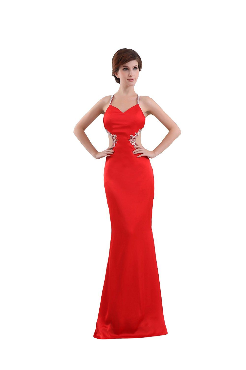 Felaladress red sexy long backless mermaid evening dresses more