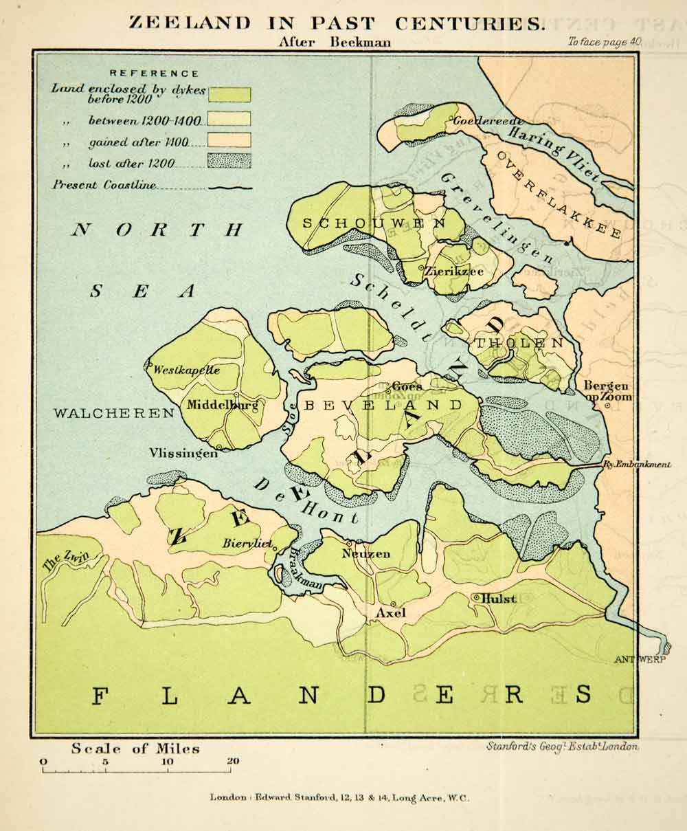 1902 Photolithographed Map Zeeland Netherlands Flanders North Sea