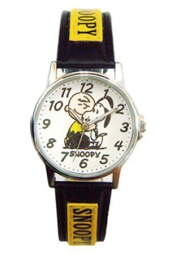 Black and yellow band snoopy and charlie brown watch snoppy watch by ufs analog face for Snoopy watches