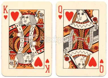 Marriage King And Queen Of Hearts Used Playing Cards Royalty Free