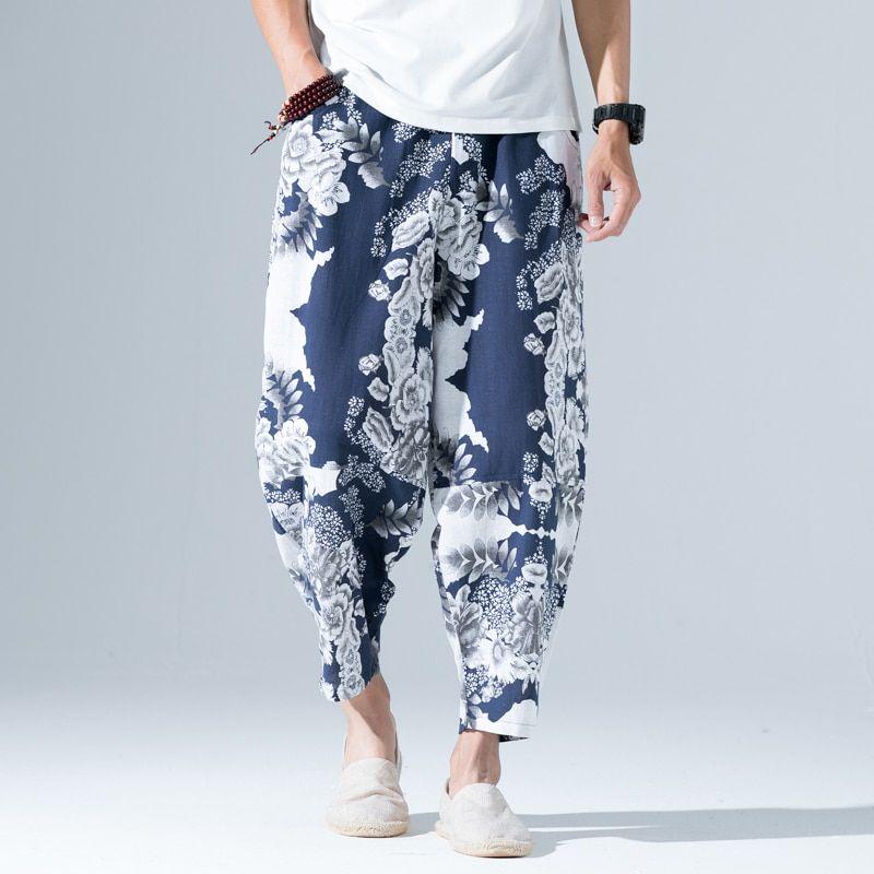 Mens Casual Wild Cotton Linen Baggy Harem Pants Beach Drawstring Waist Pants