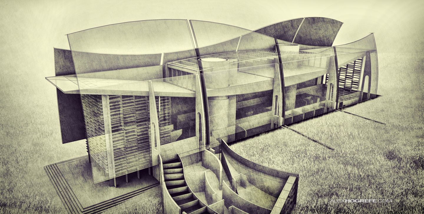 Architecture Drawing Illustrator x-ray visitor center | visualizing architecture