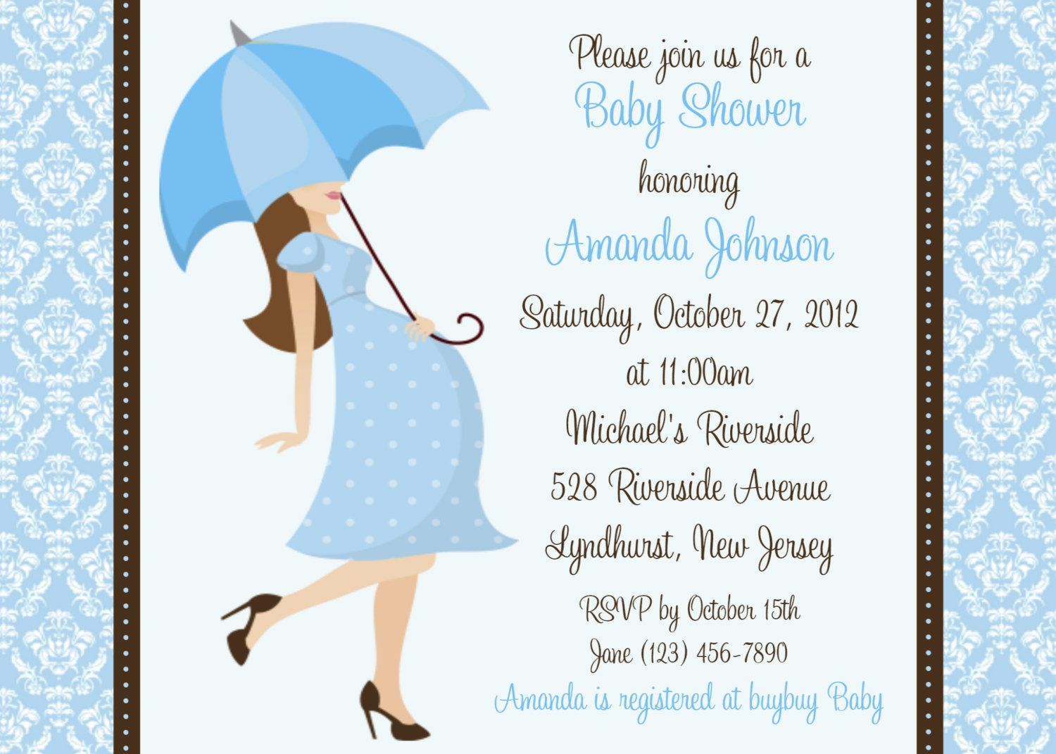 Damask Baby Shower Boy Invitation - Personalized Custom Boy Baby ...