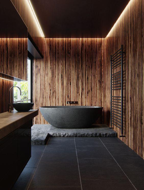 Photo of Die Holz- und Steinoptik dieses Badezimmers ist stark vom Indirekt … ,  #badez…