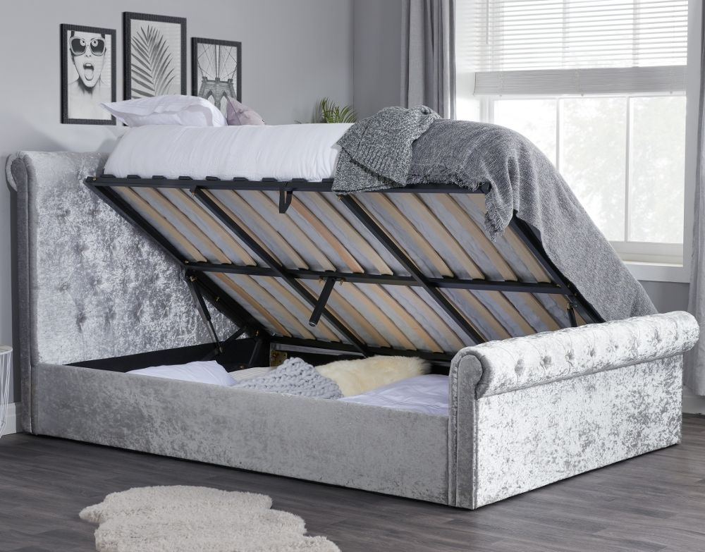 Sienna Steel Crushed Velvet Ottoman Storage Bed Frame Only 4ft