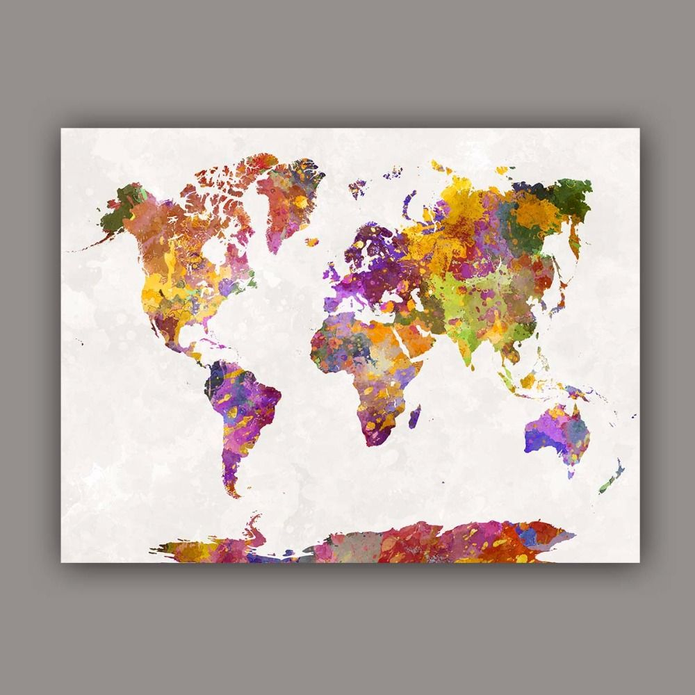 Watercolor painting canvas art abstract colorful splash world map watercolor painting canvas art abstract colorful splash world map wall pictures maps arts print gumiabroncs Images