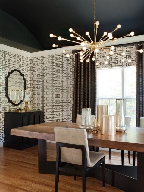 Black Ceiling Can Help Showcase What Lighting Is Used In That Room And Make It A Feature