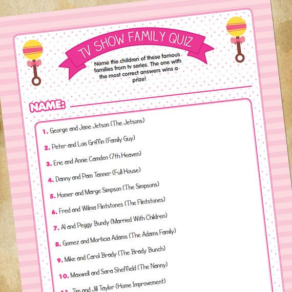 Baby Shower Game Tv Families Quiz For Girls Baby Shower