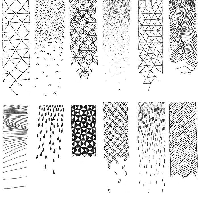atelier beau voir motifs pattern sketch monochrom