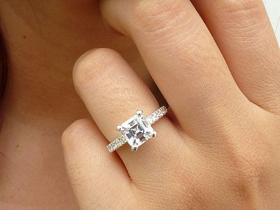 sterling silver engagement ring asscher cut by preciouswingscom - Square Cut Wedding Rings