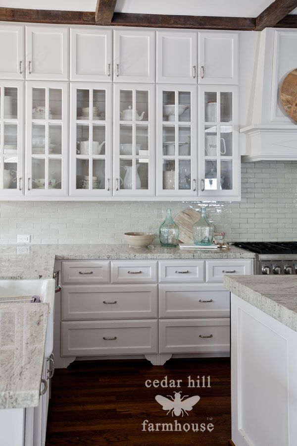 Beau White Kitchen With Glass Front Cabinets #frenchdecor