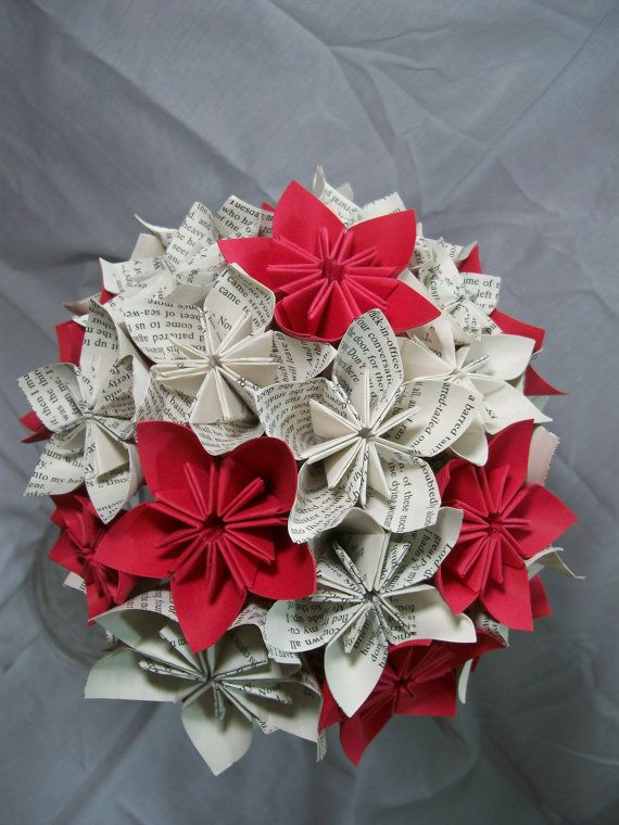 Book Paper Flower Bouquet - Red Flowers with White Book ... Origami Flower Bouquet Instructions