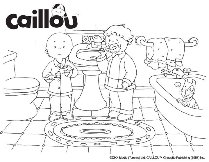 Caillou Coloring Sheet – Brushing Fun!