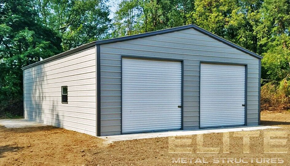 14 24 Wx26 Lx9 H Garage Vertical Roof Elite Metal Structures Metal Garage Buildings Metal Garages Metal Structure