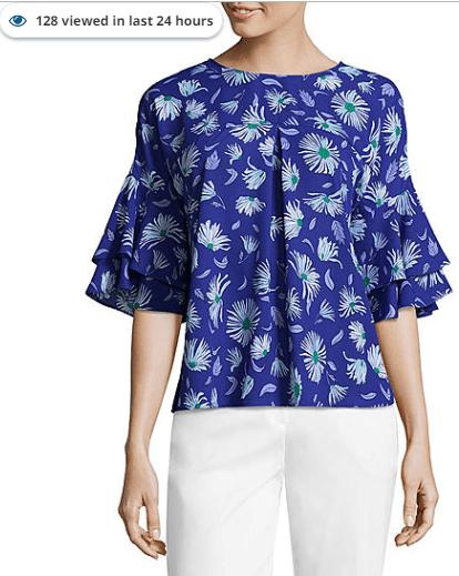 Liz claiborne women's browntan floral rose ls blouse