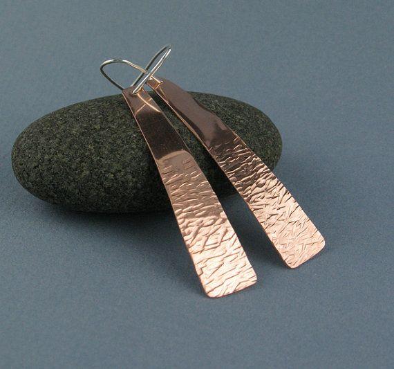 Long Textured Copper Earrings On Sterling Silver Earwires Handmade Etsy 28 00