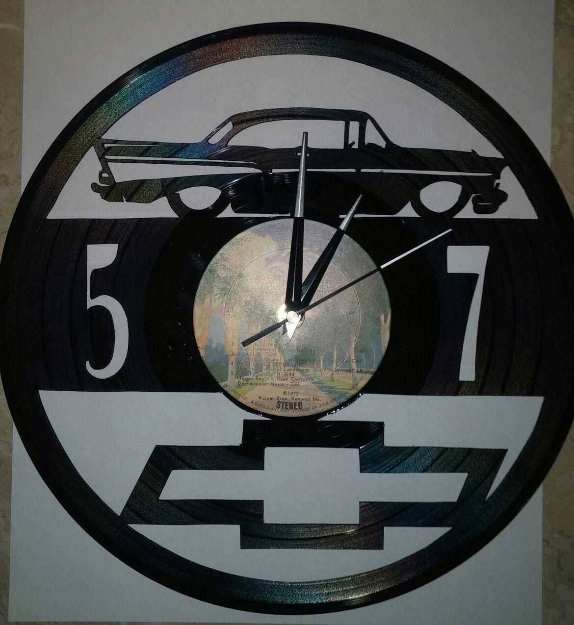 57 Chevy Vinyl Album Wall Clock Arte Em Vinil Vinis Vinil