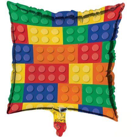 Building Block Party Metallic Foil Balloon | Lego Theme Party ...