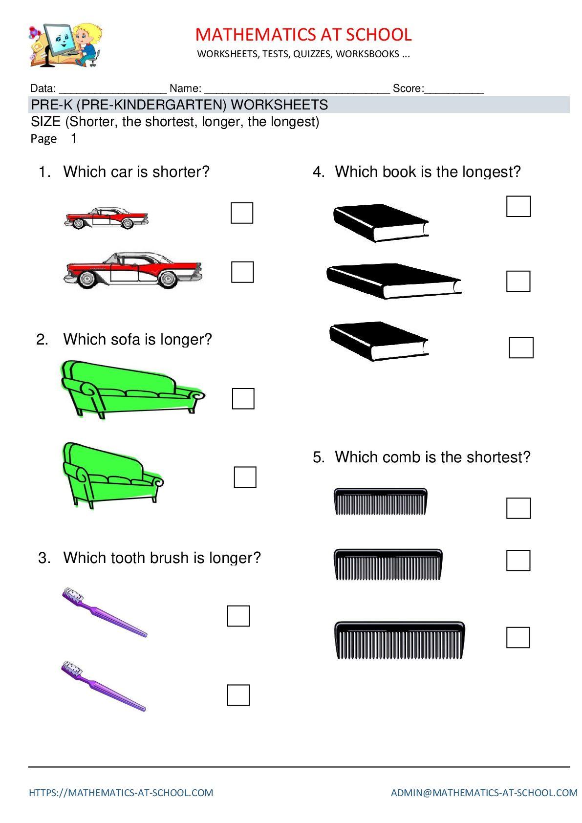 Pre-k math worksheets: size Pre-kindergarten math worksheets, size ...