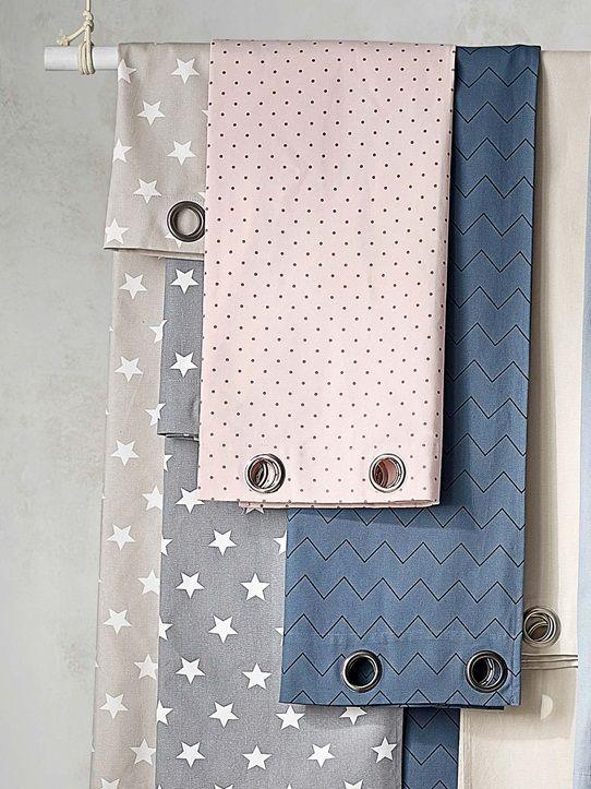 Vorhang mit Ösen, Baumwolle, bedruckt BLAU+BLAUGRAU STERNE+GRAU - vorhange wohnzimmer blau