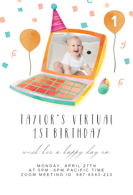 Virtual First Invitation Template Free Greetings Island Birthday Party Invitations Free 1st Birthday Party Invitations Birthday Invitations
