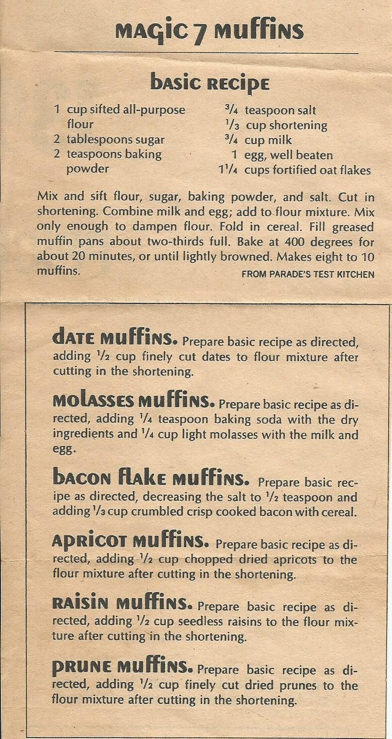 Magic 7 Muffins, from a Parade magazine (Sunday paper insert