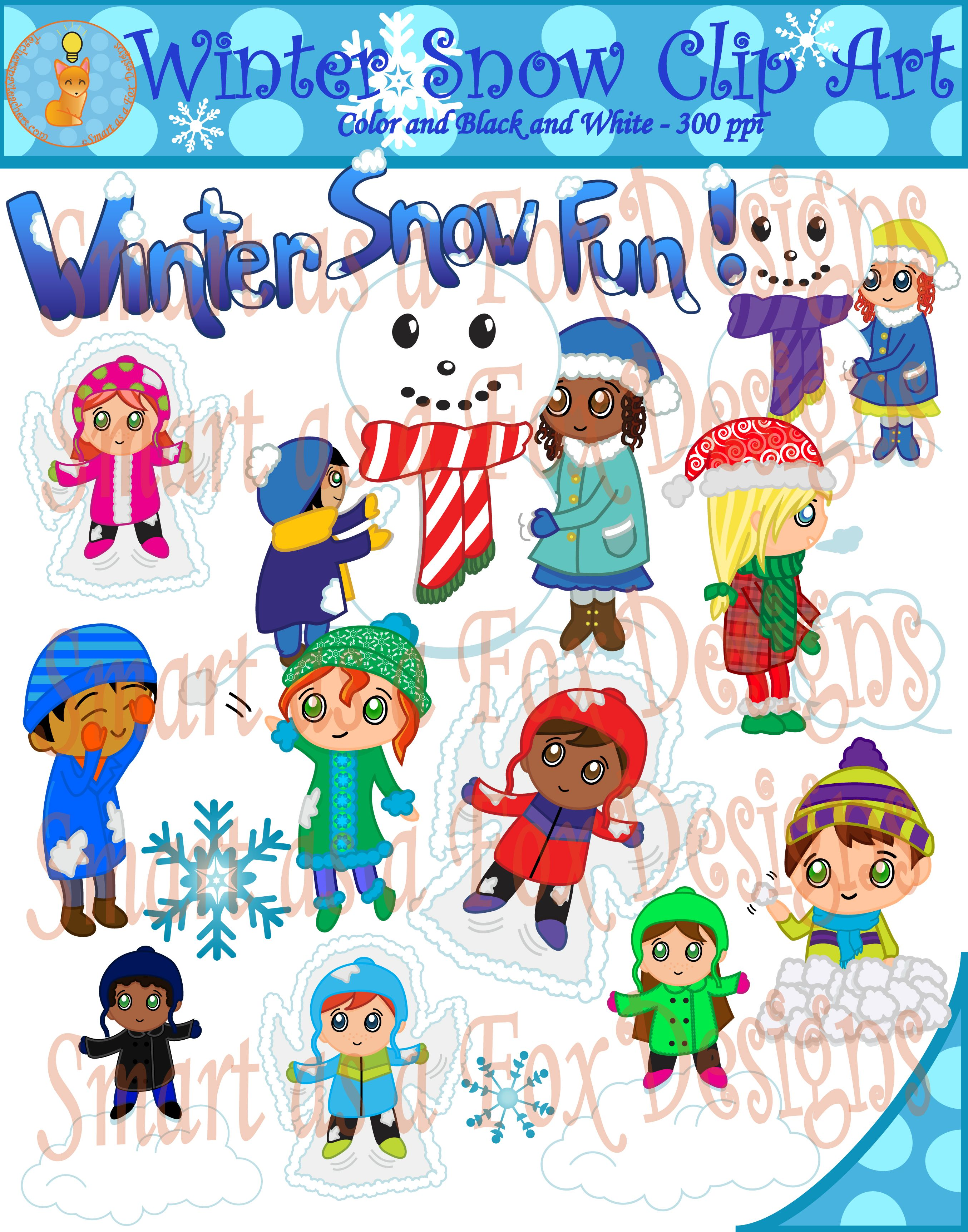 small resolution of  winter snow fun clipart by smart as a fox designs this collection contains 41 clip art pieces 25 vividly colored images and 16 black and white