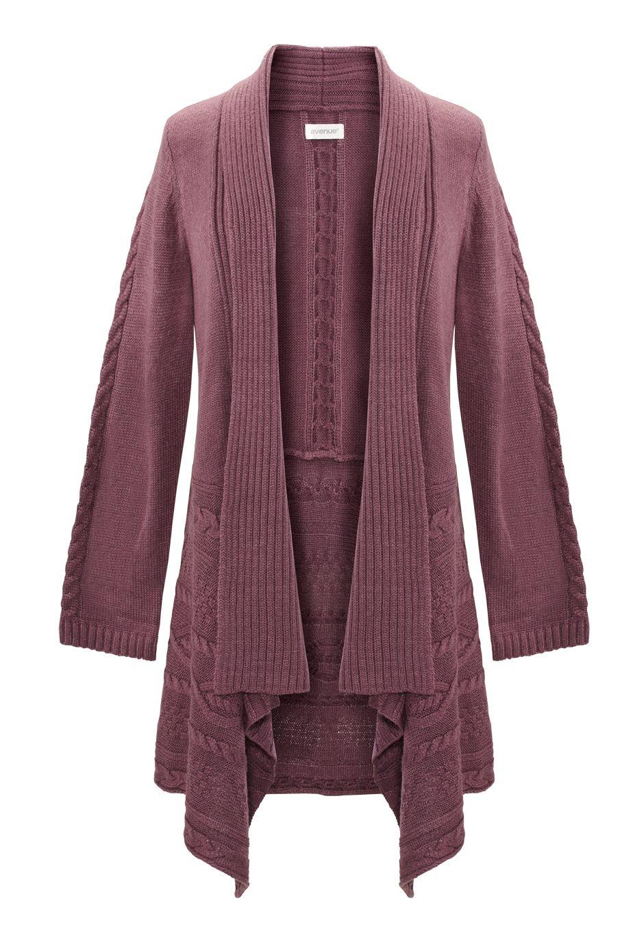 Plus Size Cableknit Trim Cardigan | Plus Size Sweaters 40%-60% off ...