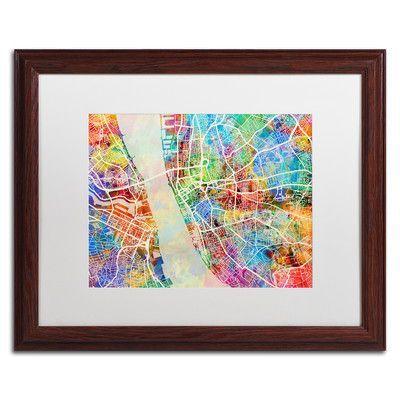 """Trademark Art """"Liverpool Street Map"""" by Michael Tompsett Framed Graphic Art Size: 16"""" H x 20"""" W x 0.5"""" D"""
