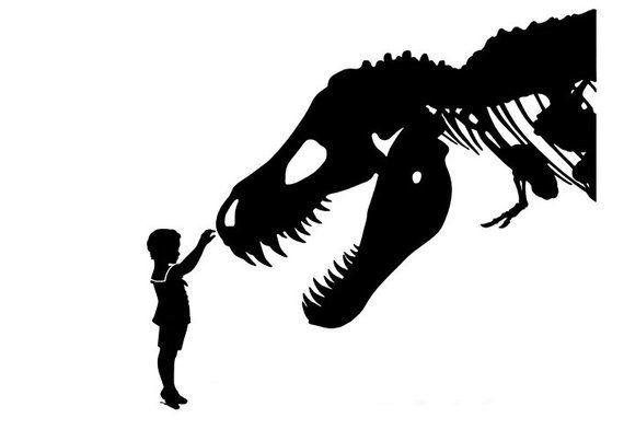Silhouette Boy Dinosaur Art Print TRex pet tyrannosaurus