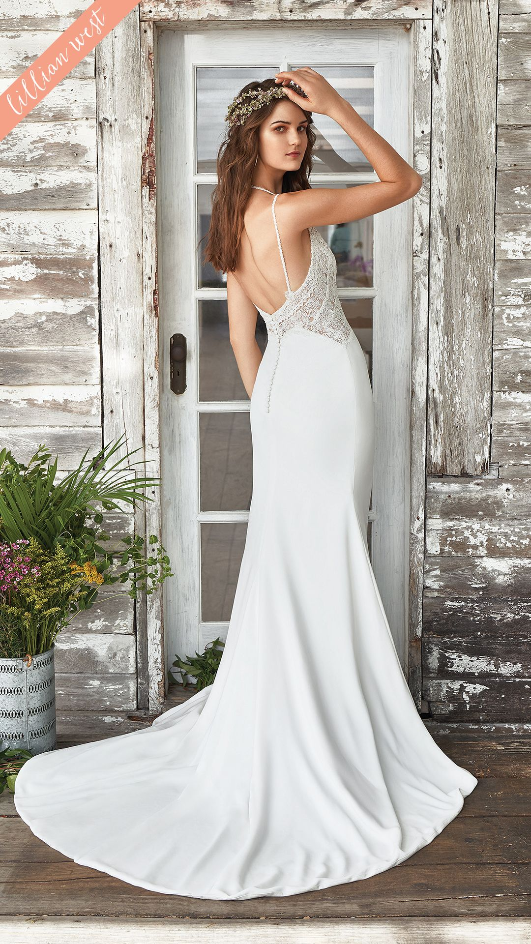 Style 66032 Fall In Love With This Sleek Fit And Flare Gown Paired With A Clean Crepe Skirt Nautical Wedding Dresses Lillian West Lillian West Wedding Dress