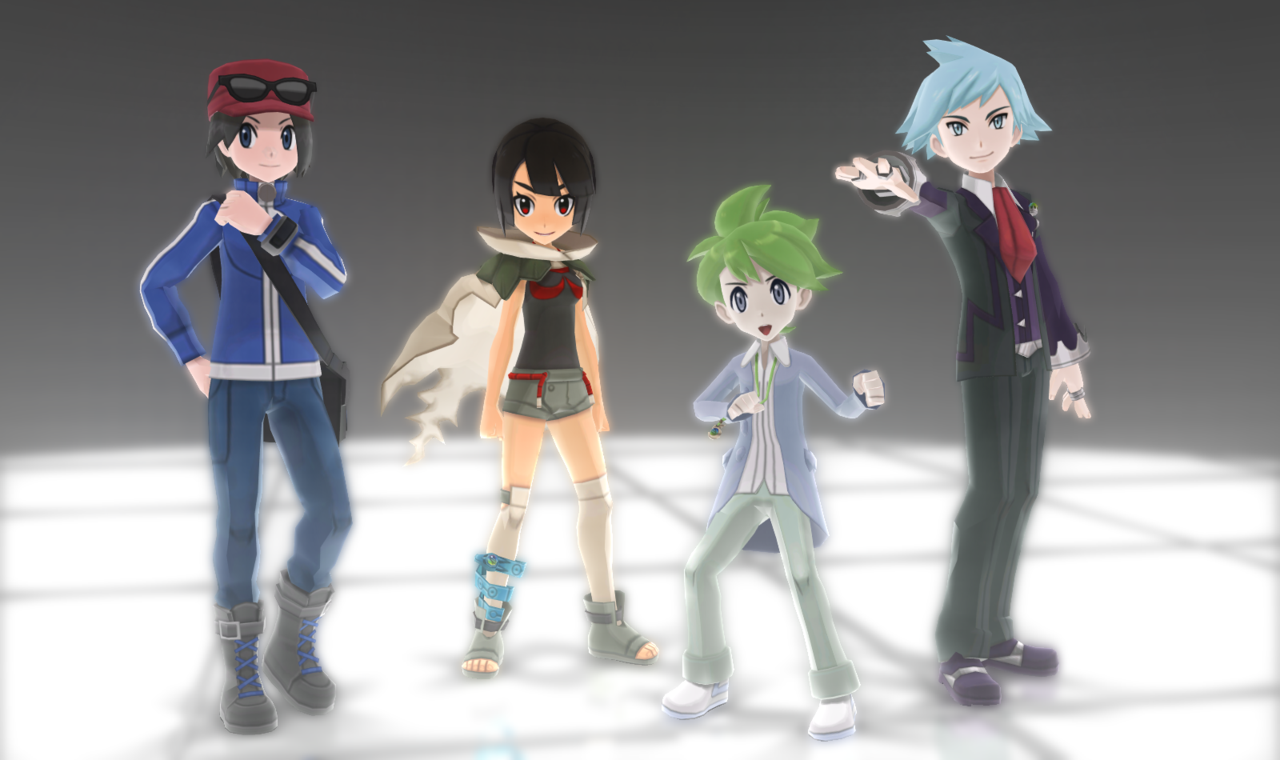 MMD Pokemon Protagonists (HOLIDAY GIFT PART 1 DL) by