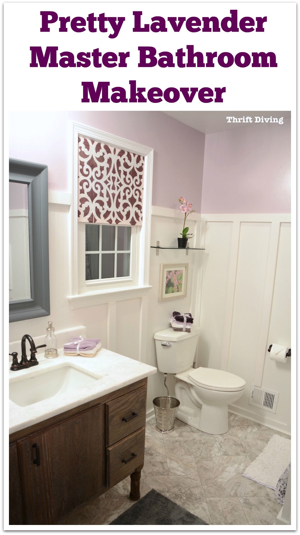 "Pretty lavender master bathroom makeover - Includes new flooring, 60"" DIY bathroom vanity, painted shower, new toilet, board and batten, and a DIY window privacy screen. Paint color: Behr Mulberry Stain. See lots of BEFORE and AFTER photos! 