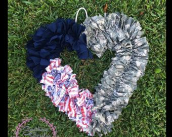 Burlap wreath Red White & Blue without stars Military