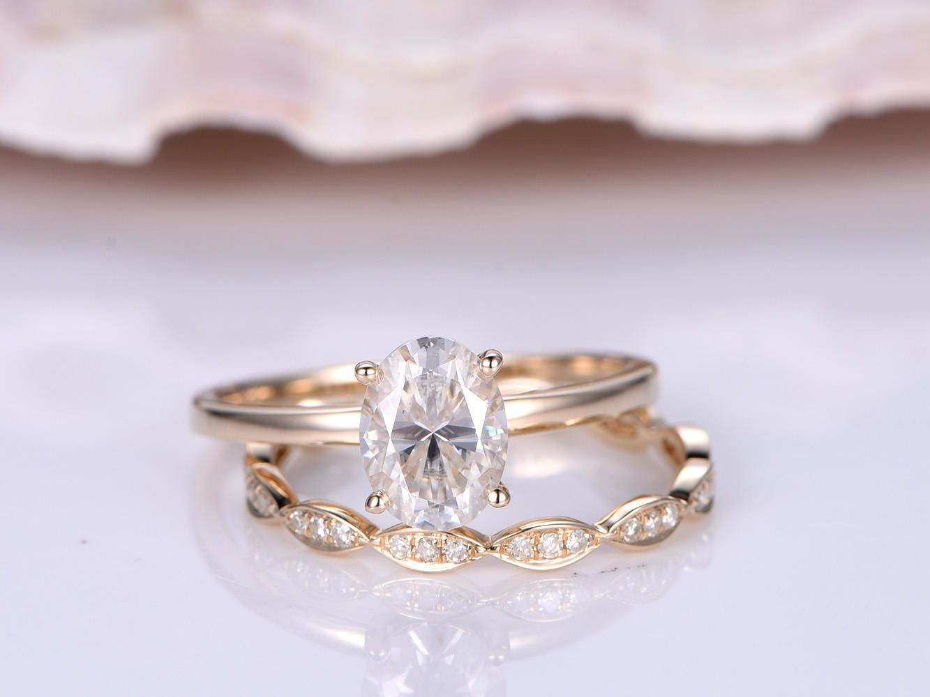 Wedding ring set moissanite engagement ring xmm oval cut