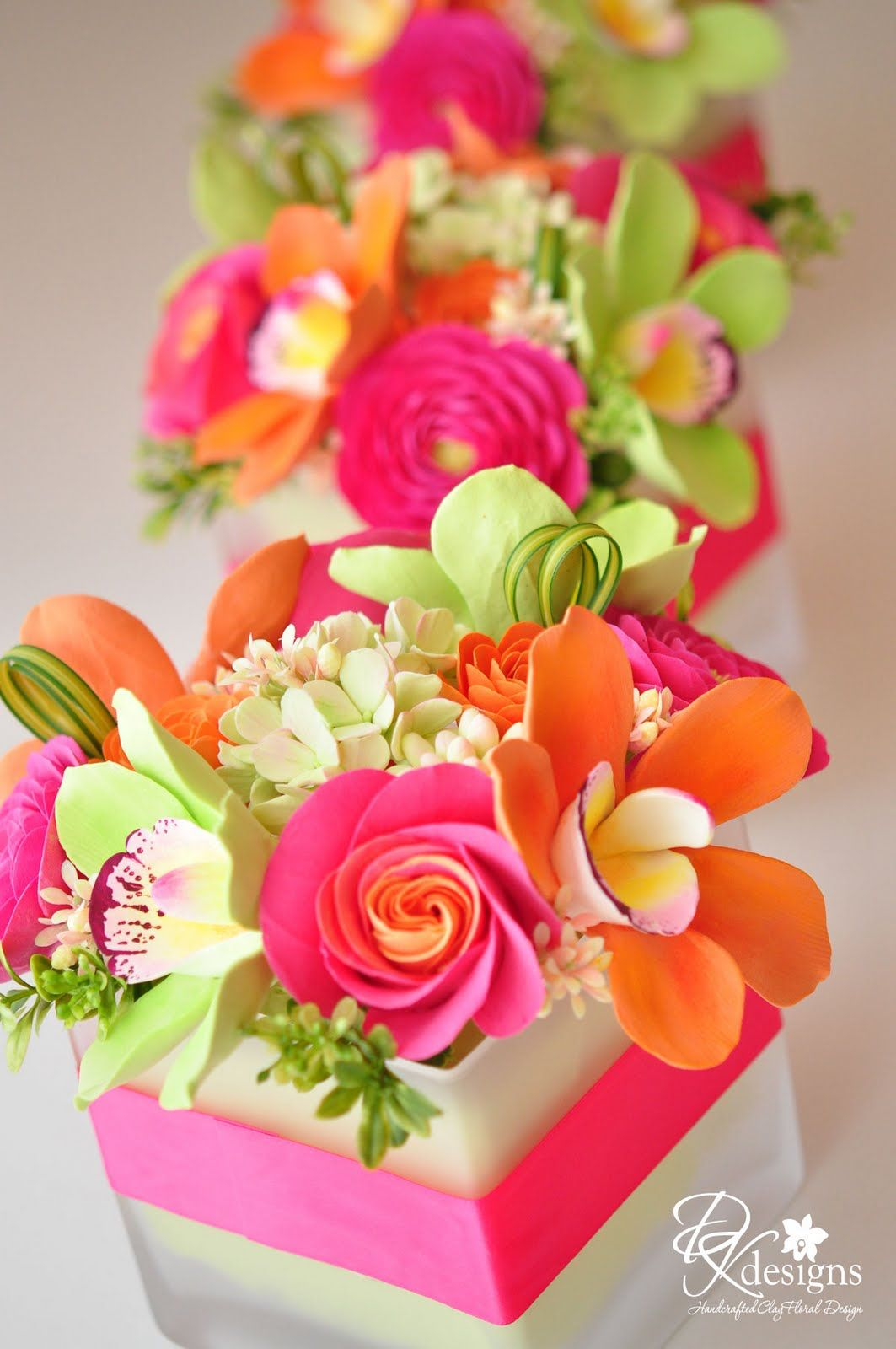 Pink Teal And Yellow Flower Centerpiece Google Search
