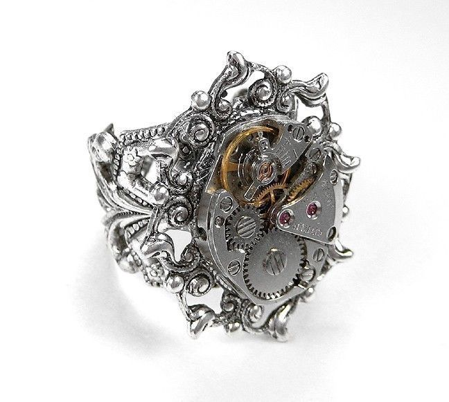 steampunk jewelry ring vintage silver ornate jeweled watch movement womens wedding anniversary bride gift steampunk - Steampunk Wedding Rings