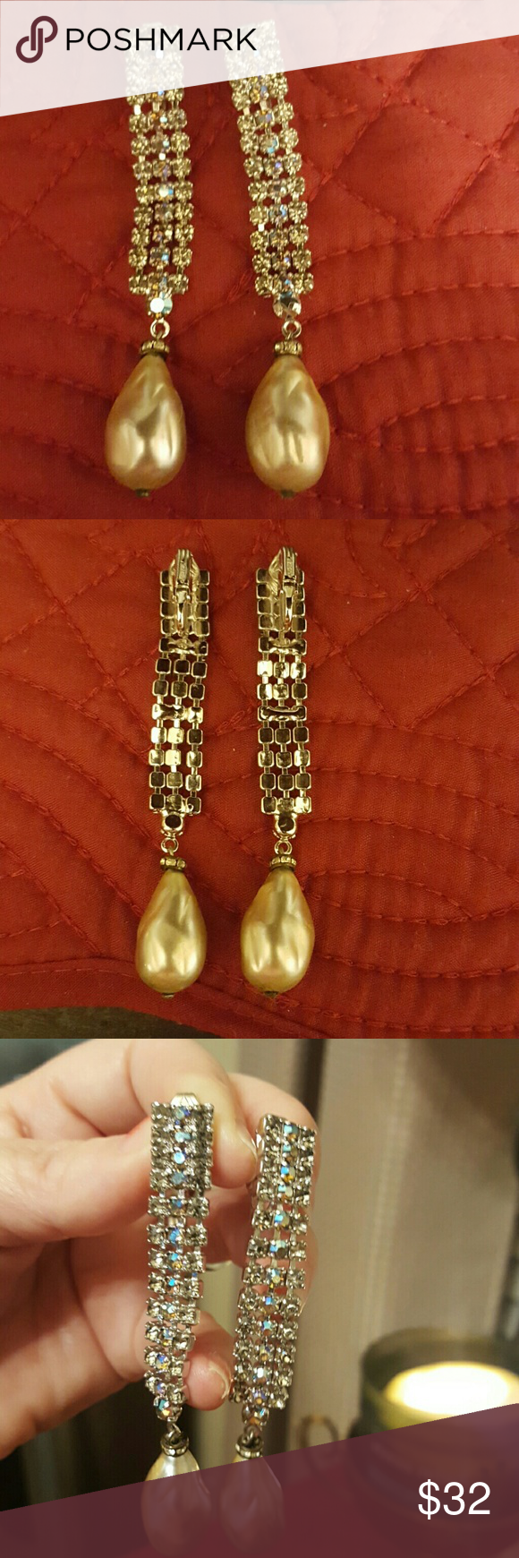 """VINTAGE CARNEGIE CLIP EARRINGS Fabulous signed Carnegie rhineatone and pearl clip earrings.  3"""" top to bottom.  Rhinestones that shimmer different colors as they move, but they shimmer in a very subtle way. No flaws, none. Carnegie Jewelry Earrings"""