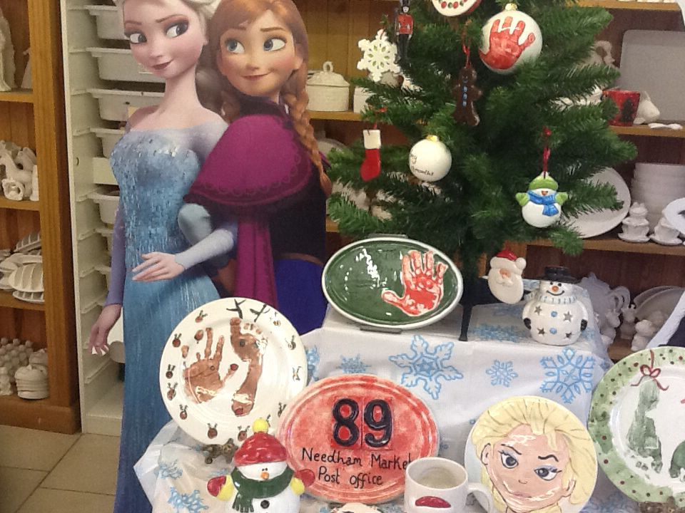 Frozen party bits in our paint your own pottery studio