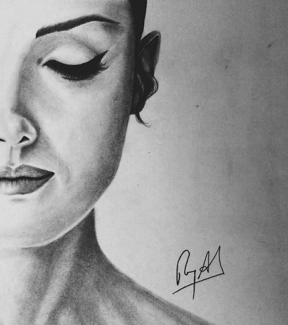 Half Face Girl Portrait Realistic Orange Eye Makeup Portrait Girl Face Sketch