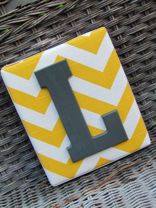 Wall Letters 6x7, Chevron Letters, Painted Letters, Yellow Chevron ...