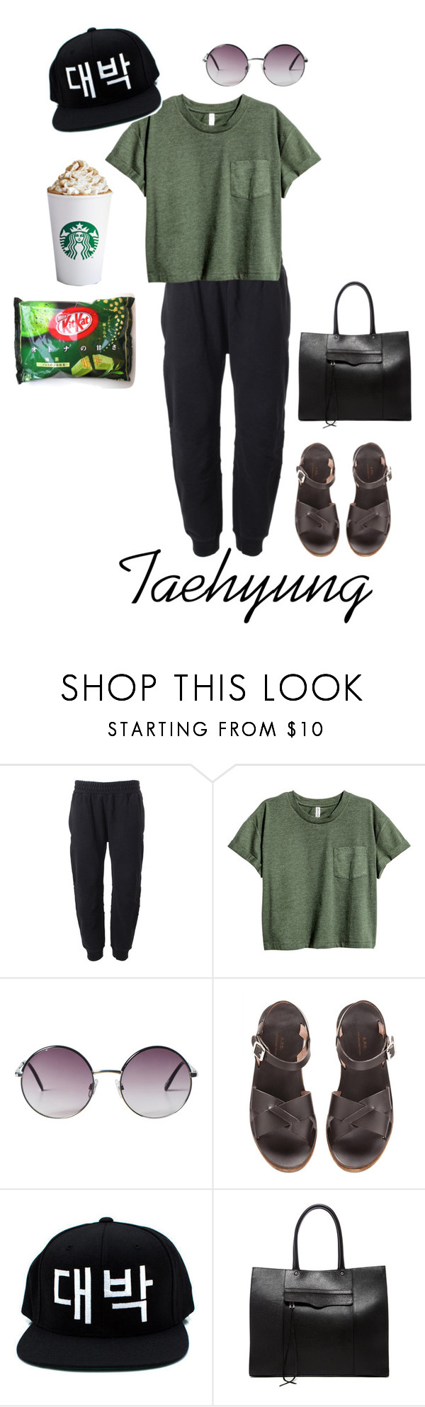 """Casual: Taehyung"" by bts-inspired ❤ liked on Polyvore featuring adidas Originals, Monki, A.P.C. and Rebecca Minkoff"