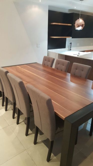 Customised Dining Room Table, unique and natural finish #diningroom #diningtable #domesticdesign #home #homedesign #homedecor #tabletops #woodentable #interiordesign #diy #bespoke