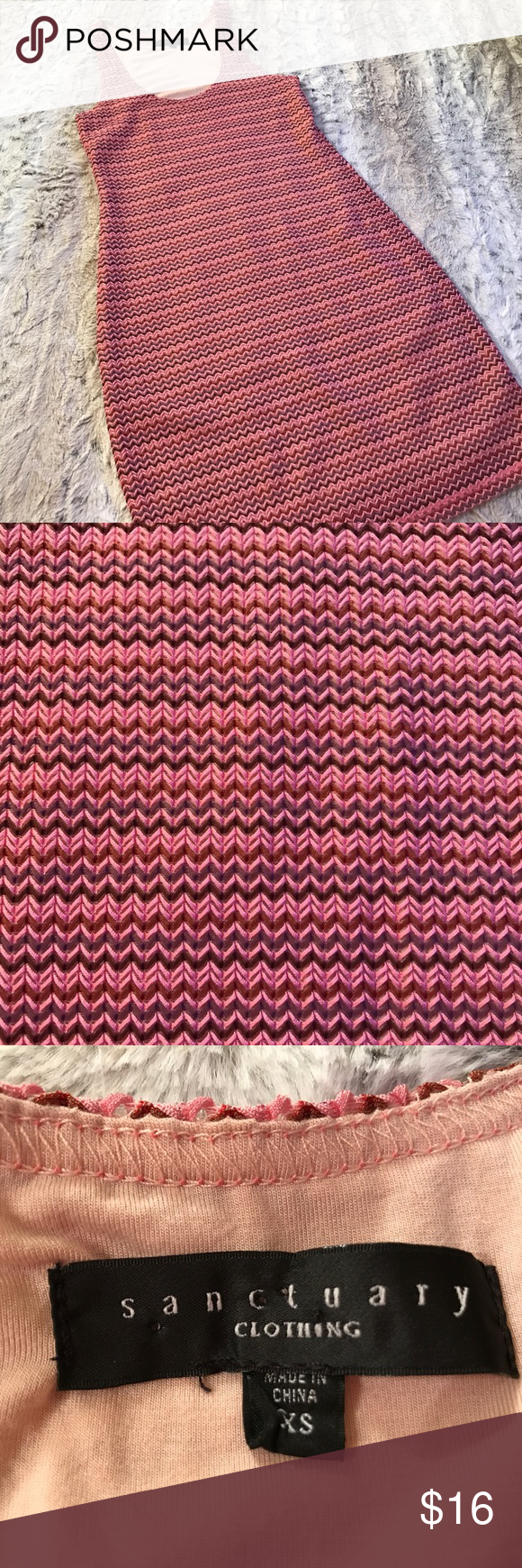 Sanctuary Clothing StretchKnit ChevronStripe Dress Sanctuary Clothing Size XS Stretch Knit Chevron Stripe Sleeveless Dress. Pink/Purple/Brown. Measurements are shown in above pictures.  No trades. -1422 Sanctuary Dresses