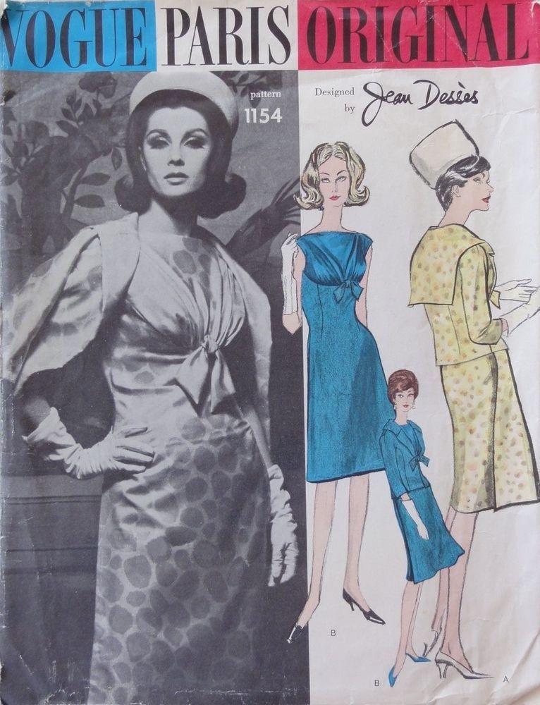 Vintage Vogue Paris Original 1154, Desses, Uncut, Complete, Sz 14-Bust 34 Hip 36 #VoguePatterns