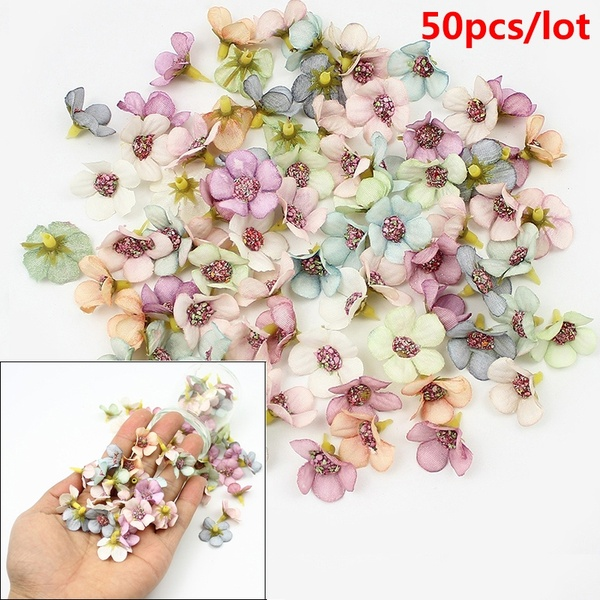 50Pcs 2cm Multicolor Daisy Flower Heads Mini Silk Artificial Flowers for Wreath Scrapbooking Home Wedding Decoration | Wish