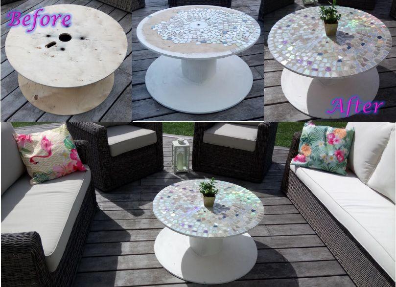 Diy Use Old Cds Dvds To Create Mosaic Garden Table From Electric Cable Spool Decorer Une Bobine De Cable Avec Des Vieux Cds Furniture Decor Wood Art Decor